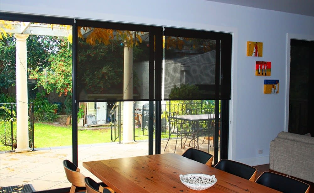 image of black sunscreen blinds