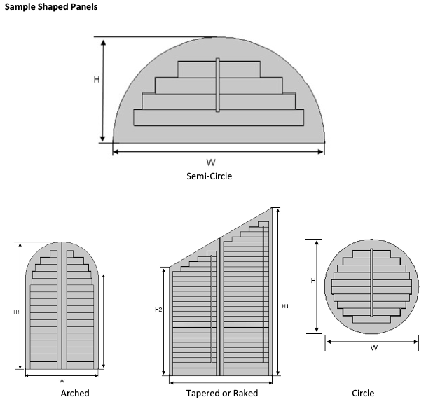 shaped panels for plantation shutters